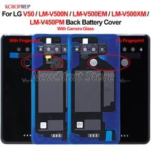 LG V50 arka cam pil kapağı ile parmak izi arka kapı kasa konut için LM V500EM LM V500XM LM V450PM kapak konut