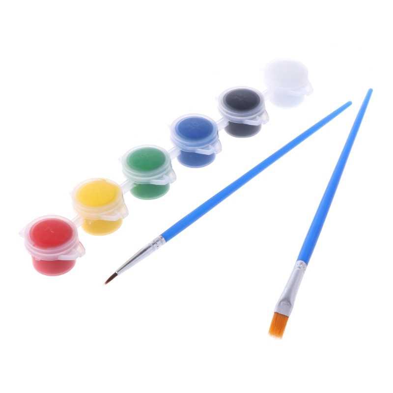 6 สีอะคริลิคสี w/2 แปรงเล็บ Art Wall ภาพวาดสีน้ำมันเครื่องมือ Art Supply D2TD