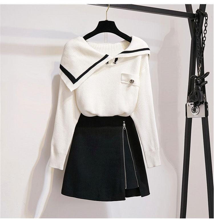 ICHOIX 2 Piece Skirt Set Student Korean Style Sweet Women 2 Piece Set Fall 2019 White Knitted Sweater Casual Two Piece Outfits
