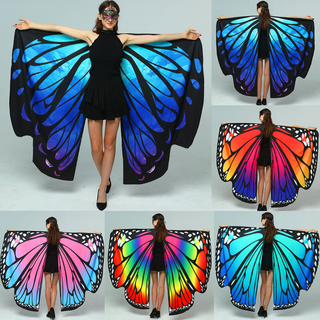 Women Chiffon Wings Shawl Scarf Butterfly Wing Cape Peacock Shawl Wrap Gifts Cute Novelty Print Scarves