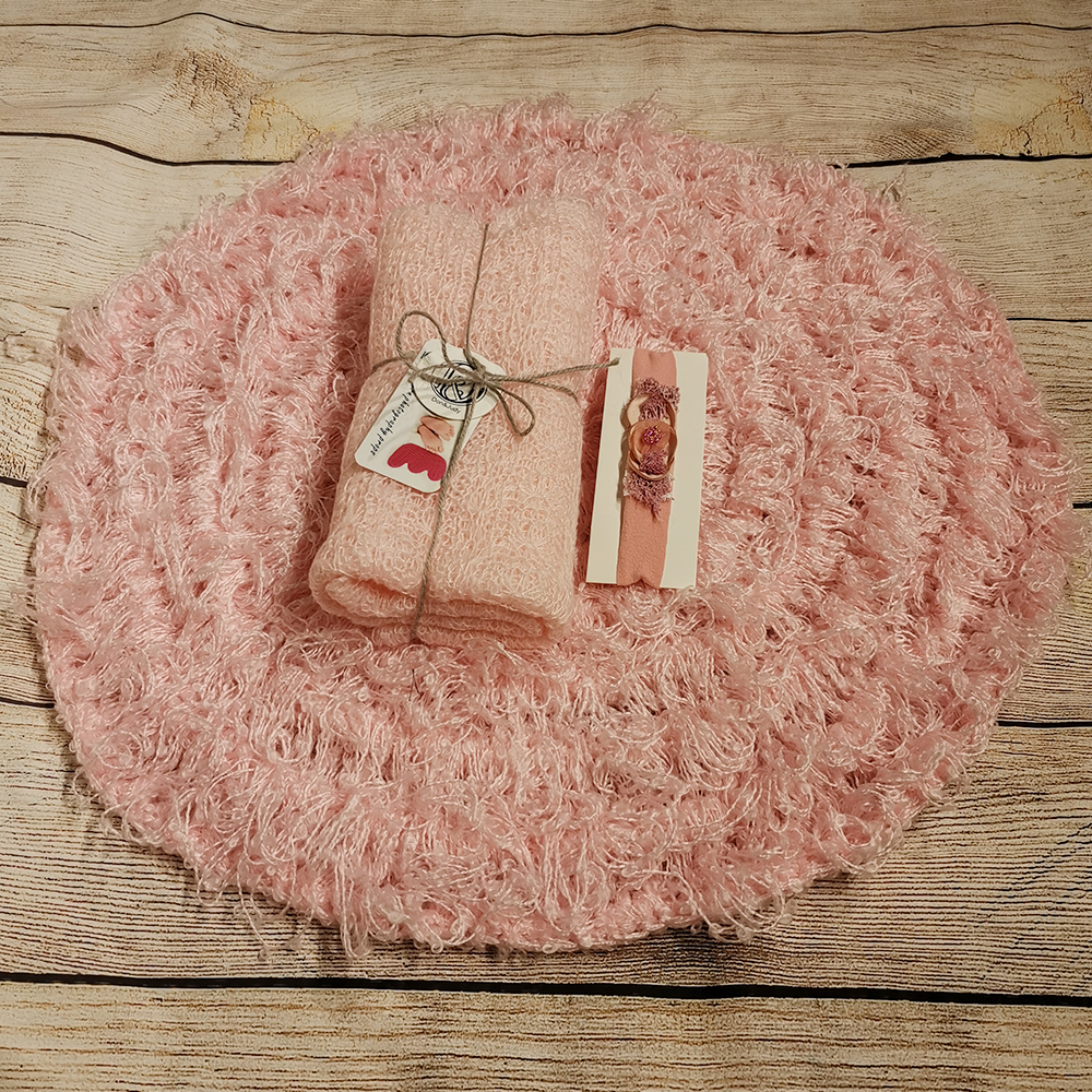 50cm Round Crocheted Blanket+150*40cm Mohair Stretch Knit Wrap +matched Cotton Headband For Newborn Photography Props