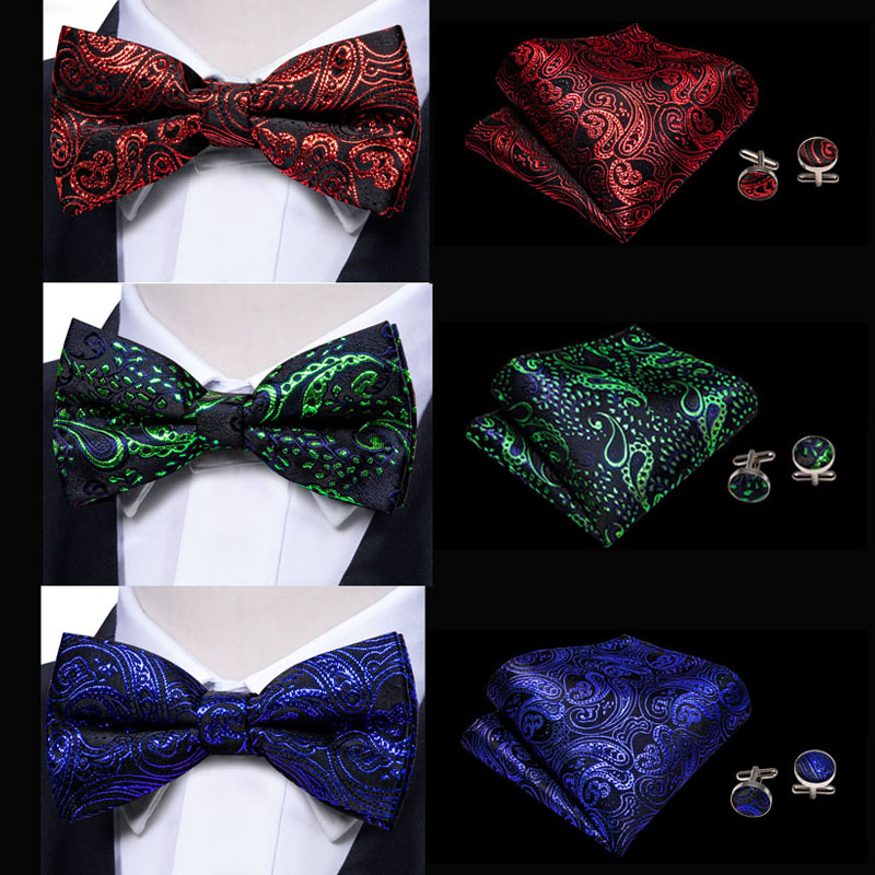 Mens Luxurious Quality Handmade Paisley Pattern Pre-Tied Party Wedding Bow Tie