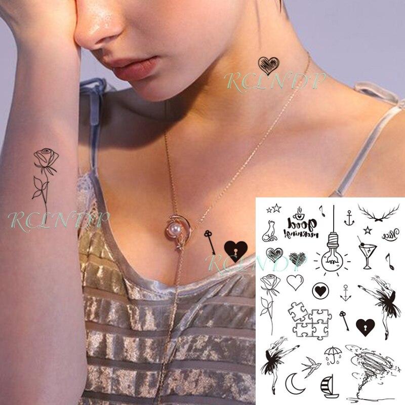 Waterproof Temporary Tattoo Sticker Dancing Girl Bulb Cat Rose Sailboat Symbol Fake Tatto Flash Tatoo Art For Kids Women Men