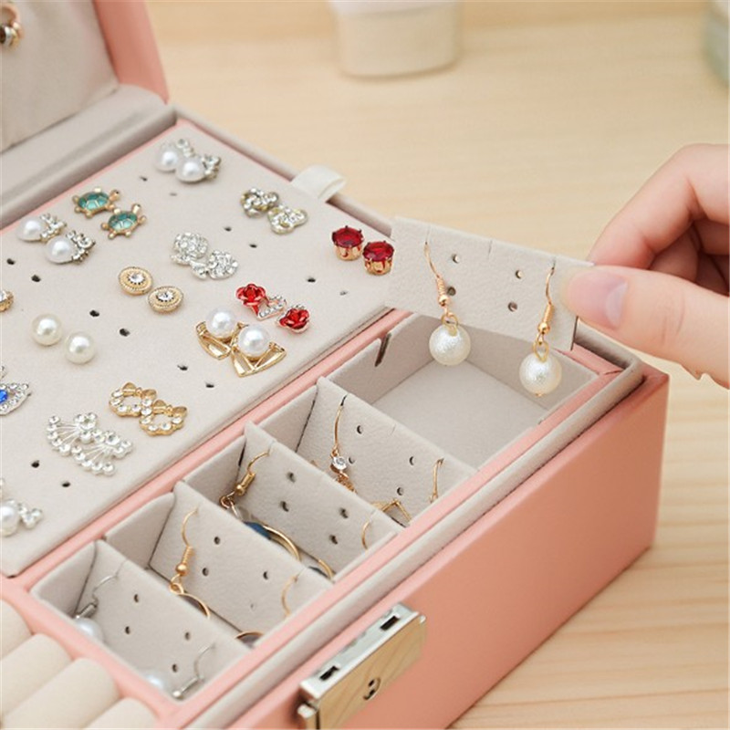 WE New Double-Layer High Capacity Leather Jewellery Box Ear Stud Earrings Ornament Storage Box Multi-Function Large Jewelry Box