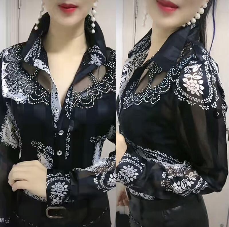 Long-sleeved female bottoming Shirts Women's spring autumn foreign style lace stitching Ladies chiffon Shirt ins floral top coat