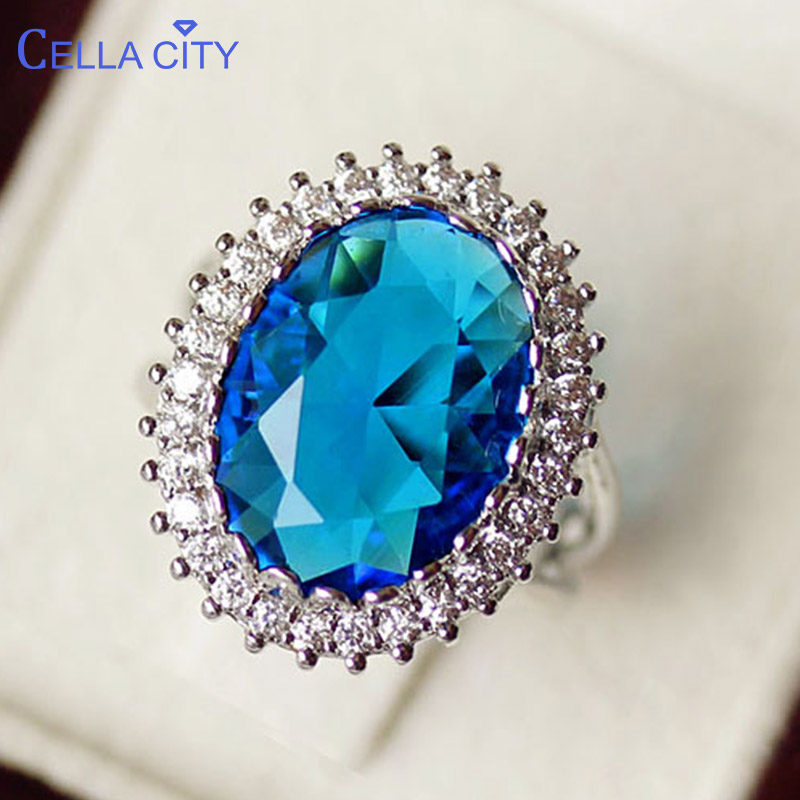 Cellacity Trendy Oval Gemstones Ring For Women Female Fine Jewelry Sterling Silver 925 Ruby Aquamarine Zirocn Luxury Party Rings