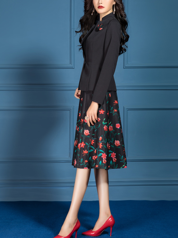 Women Suits Elegant Office Lady Formal Slim Long Sleeve Blazer Jacket Plus Size Knee Length Floral A-line Dress Two Piece Set