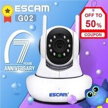 Escam G02デュアルアンテナ720 720pパン/チルトwifi ip irカメラサポートonvif最大128ギガバイトビデオ監視ipカメラ