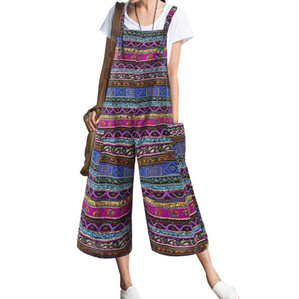 Women Jumpsuits Rompers Cotton Linen Vintage Ethnic Print Siamese Capris Wide Loose Casual Bib Baggy Jumpsuit Overalls Culotte