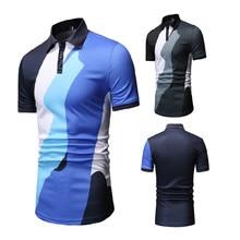2019 Summer Autumn Mens Polos Breathable Cotton Short Sleeve Boys Polo Shirts Casual Turndown Collar Patchwork Male