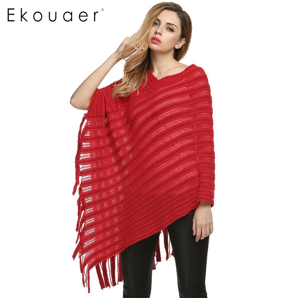 Ekouaer Fashion Ladies Women Irregular Casual V-Neck 3/4 Sleeve Striped Tassels Loose Knitting Cape Sweaters