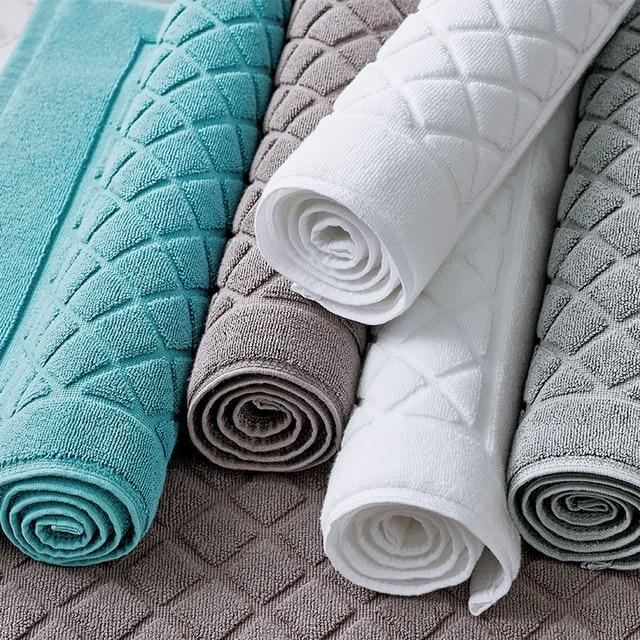 100% Cotton Bath Mats Anti-slip Hotel Bathroom Towel Mat Rectangle Plaid Water Adsorption Door Floor Carpet Toilet Shower Rug