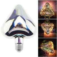 85-265V 7W deslumbrante Color bombilla LED corazón decoración 3D bombilla de fuegos artificiales ángulo de 360 grados para la decoración Interior de vacaciones de Navidad
