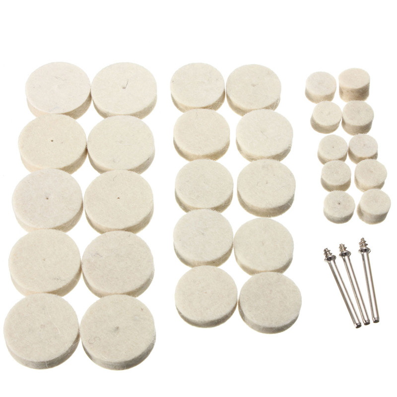New 33Pcs/Set Soft Felt Polishing Buffing Wheel Mop Pad Compound For Dremel Rotary Polishing Tool