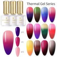 GEBOREN ZIEMLICH 6ml Regenbogen Temperatur Ändern Farbe Gel Nagellack Thermische Nagel Gel Tränken Weg UV Gel Lack für