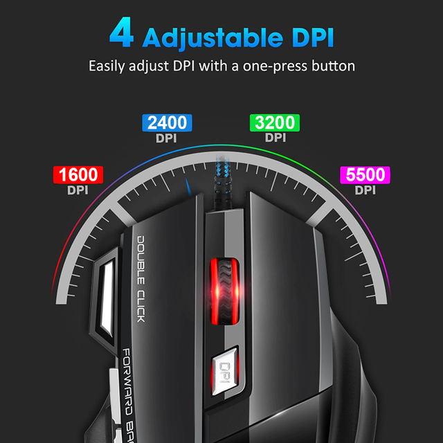 Computer Mouse Gamer Ergonomic Gaming Mouse USB Wired Game Mause 5500 DPI Silent Mice With LED Backlight 7 Button For PC Laptop 4