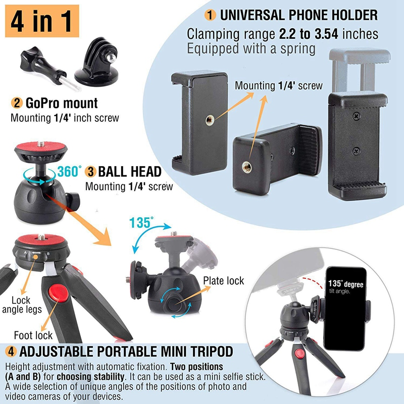qubo Mini Tripod Camera Holder Hand Desktop Camera Tripod Stand Table Premium Tabletop Small Phone Tripod Mount for GoPro iPhone Cell Phones Webcam Projector Compact DSLR