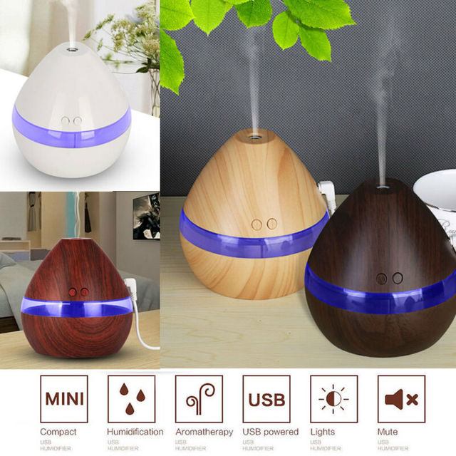 300ML Air Humidifier Essential Oil Diffuser wood grain Aromatherapy diffusers Aroma purifier MistMaker led light for Home 1