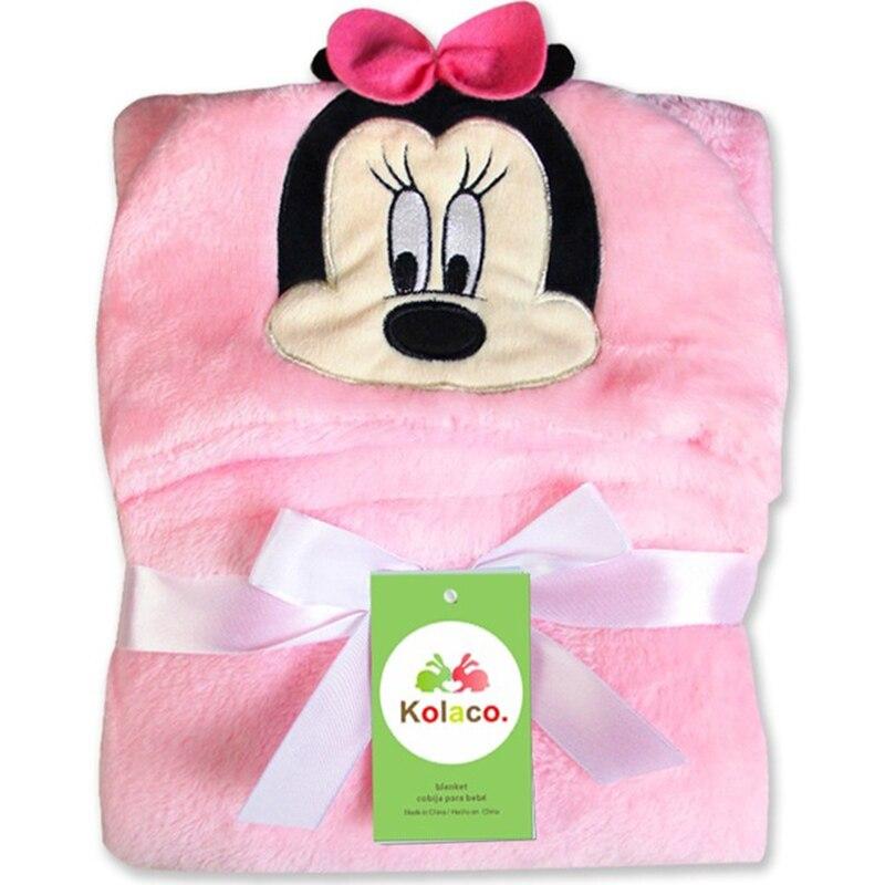 Disney Mickey Minnie Stitch Lovely Baby Bath Blankets Cute Cartoon Shape Kids Hooded Blanket Bathrobe Cloak Boy Receiving Neonal