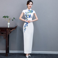 Blue White Embroidery Cheongsam Sexy Long Qipao Party Dresses Traditional Chinese Wedding Dress Plus Size Women Clothing Qi Pao