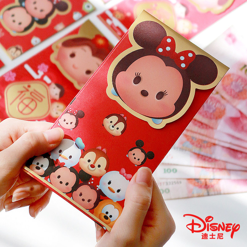 Disney 6 Pcs / Pack High Quality Kawaii 2020 Rat Year Mickey Mouse Red Envelope Children New Year Red Pocket Student Kids Gifts
