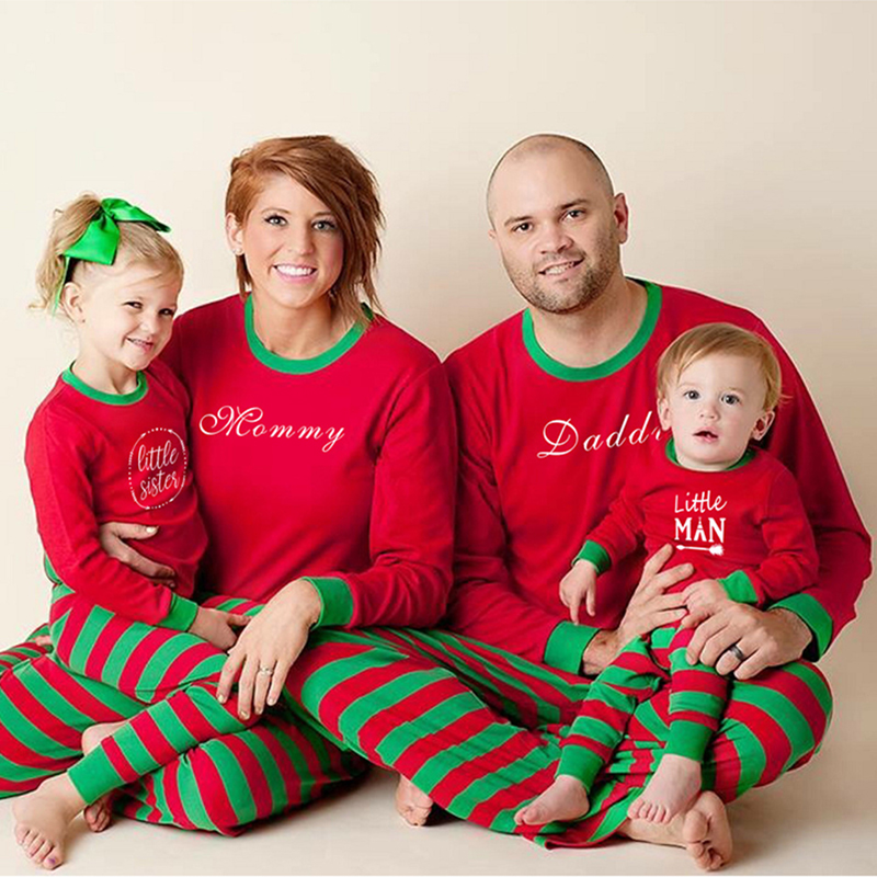 Family Christmas Pajamas New Year Mother Daughter Family Fitting Outfits Clothing Nightwear Red Pajamas Set Family Look