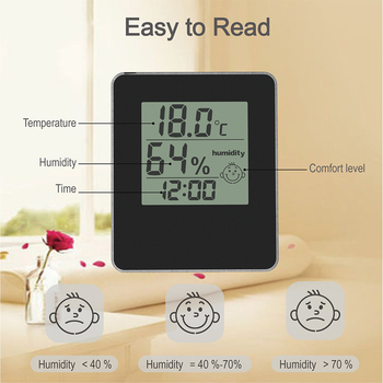 Digital  indoor thermometer and hygrometer  with desk clock  temperature sensor & humidity meter for home office multifunction