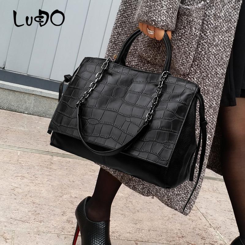Fashion chain Crocodile Pattern Leather brand Designer Luxury Handbags Alligator large Shoulder Bags For Women 2020 Tote Bag