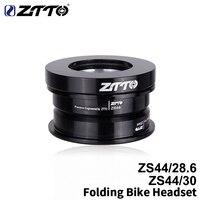 Spor ve Eğlence'ten Bisiklet Kulaklığı'de ZTTO katlanır bisiklet kulaklık ZS44 kulaklık 44mm direksiyon 1 1/8 28.6mm düz tüp dağ bisikleti düşük profil yarı entegre F4444S