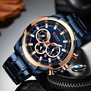 Image 3 - CURREN موضة ساعات الفولاذ عادية للرجال كوارتز ساعة اليد كرونوغراف ساعة رياضية مؤشرات مضيئة ساعة الذكور