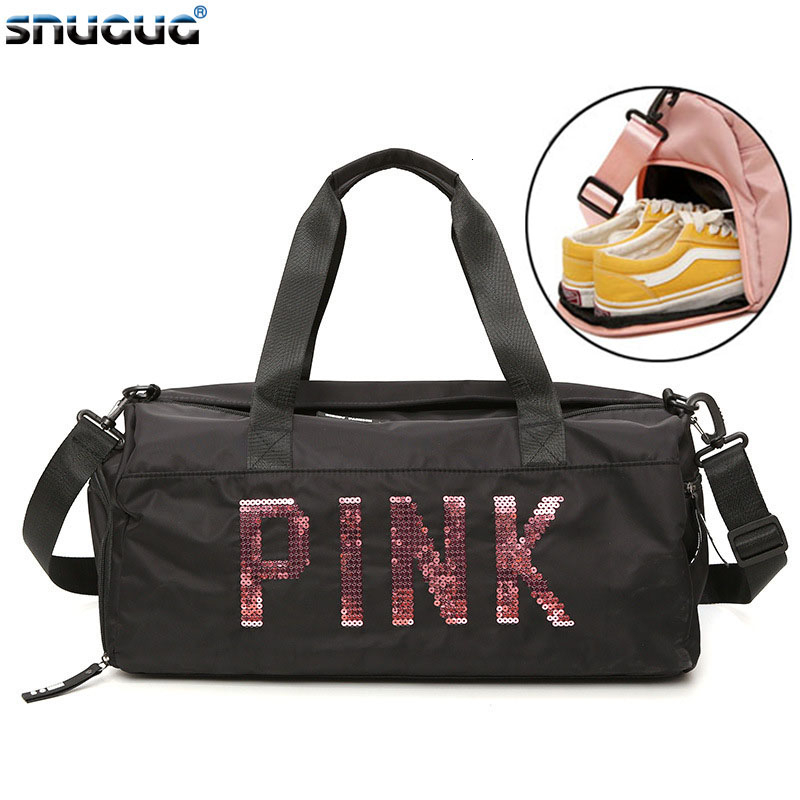 SNUGUG Outdoor Women Sport Bag New Gym Bag Men Nylon Pink Sports Bags For Fitness 20-35L Travel Woman Gym Bag Shoe Compartment