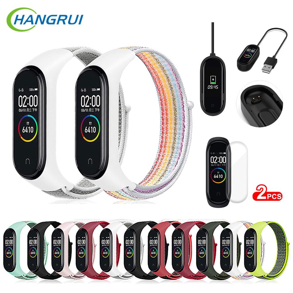 Hangrui Nylon Loop Strap For Xiaomi Mi Band 4 Sports Watch Band Breathable Strap For Xiaomi Mi Band 3 Band4 Smart Watch Charger