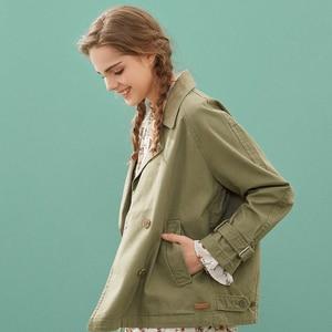 Image 2 - Metersbonwe الموضة قصيرة خندق الإناث سترة واقية معطف المرأة الخريف عارضة خندق مكتب معطف للسيدات الإناث أبلى