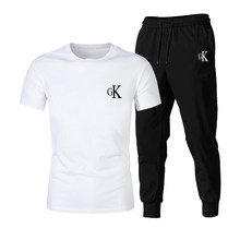 2021new t-shirt 2 pieces training sets print male short sleeves + pullover pants sportwear casual suit sportswear