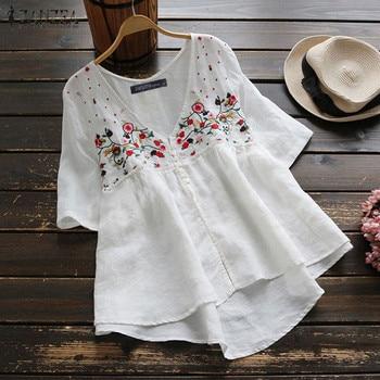 цена на Women Tunic Tops ZANZEA Female Vintage Embroidery Blouse Casual Buttons Asymmetrical Hem Shirts Office Lady Blusas Plus Size