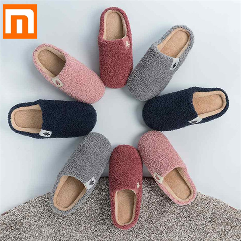 New Upper Shu Non-slip Winter Slippers Home Men Women Couples Warm Floor Shoes Cotton Ladies Indoor Slippers Plush Slipper