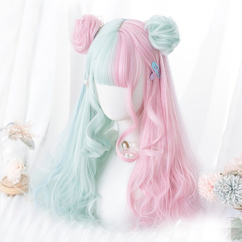 Pink Mint Mixed Sweet Princess Party Cosplay Wigs Kawaii Daily Long Curly Hair Lolita Wig + Cap Harajuku 57cm Carousel Buns