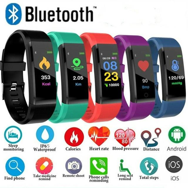 115 Plus Bluetooth Wristband Heart Rate Monitor Blood Pressure Smart Band Bracelet Fitness Tracker Smartband for Android IOS