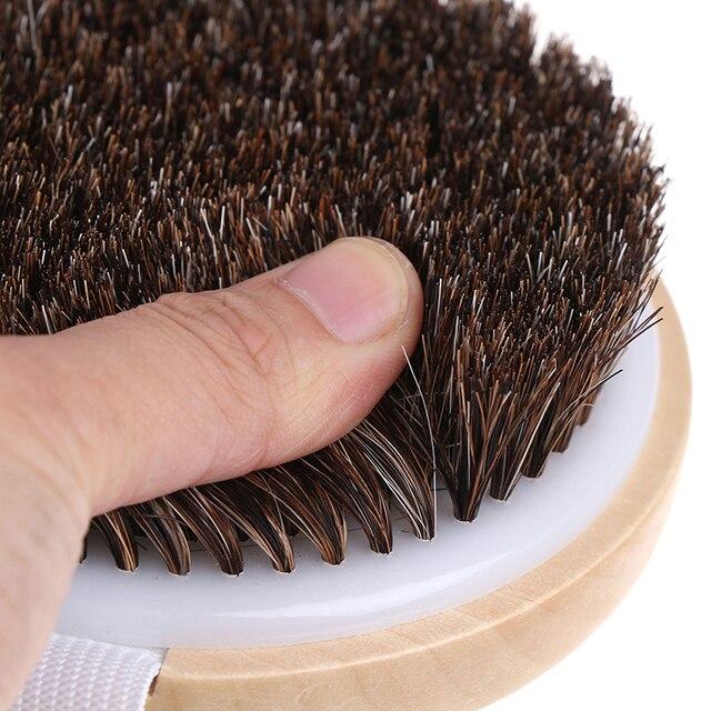 1PCS Body Massage Brush Cellulite Shower Exfoliation Hot Wood Natural Horse Hair Bath Body Brush Dry Skin Brushing 4