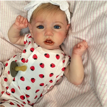 New 22'' Silicone Reborn Doll Mia Reborn Baby Doll Realistic Pouting Baby Doll Sweet Princess Soft Touch Reborns Toddlers warkings reborn