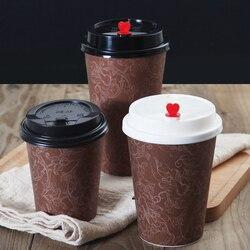 50 sztuk wysokiej jakości jednorazowe kubki do kawy party dobrodziejstw kreatywne brązowe papierowe kubki do picia na wynos opakowania kubki z pokrywkami w Kubki jednorazowe od Dom i ogród na