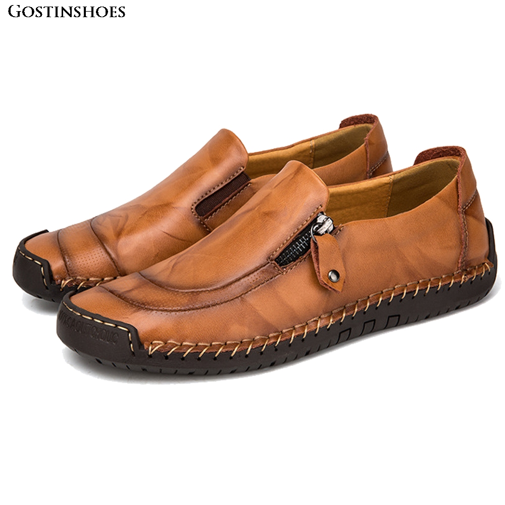 KPOCCOBKN Casual Shoes Men Leather Shoes Slip-on Cowhide Moccasins