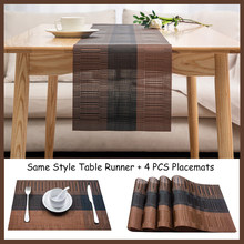 Luxury Table Runner for Dining Table Brown Black Non-slip Pad Waterproof Mat PVC Table Runners Placemats Table Decoration 30x180