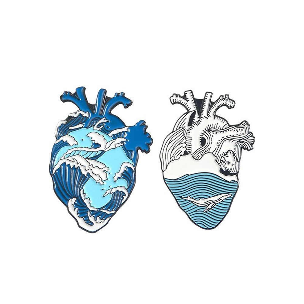 Organ Jantung Enamel Pin Bros Tas Pakaian Kerah Pin Lencana Medis Perhiasan Hadiah Perhiasan Bros untuk Pria Wanita Enamel Pin