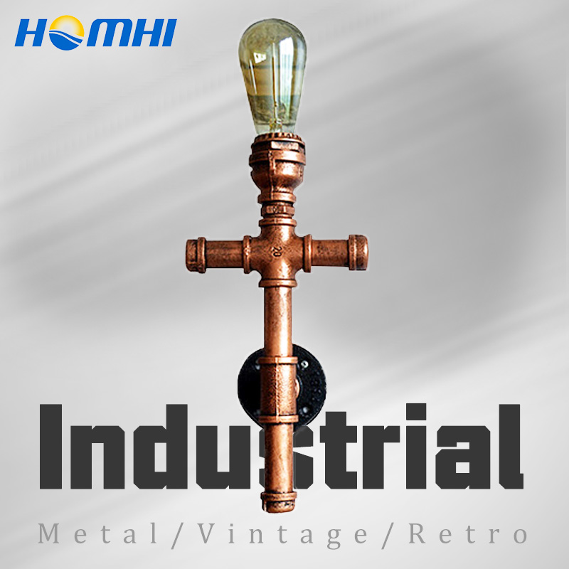 industrial pipe cross vintage wall lamp for living room country loft industrial home decor led wall lights for home living room