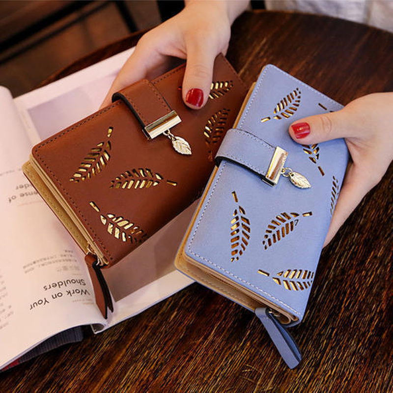 Women's Wallet PU Leather Purse Lady Girl Female Long Wallets Hollow Leaves Coin Purse Card Holder Clutch