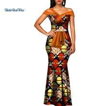 Robe africaine longue en forme de sirène pour femmes, imprimé de cire, Bazin Riche, vêtements traditionnels africains de fête, été, WY3288