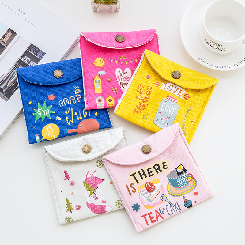 Women Canvas Sanitary Napkin Storage Bags Tampon Cosmetic Organizer Pouch Female Girls Sanitary Pads Case Small Makeup Bags