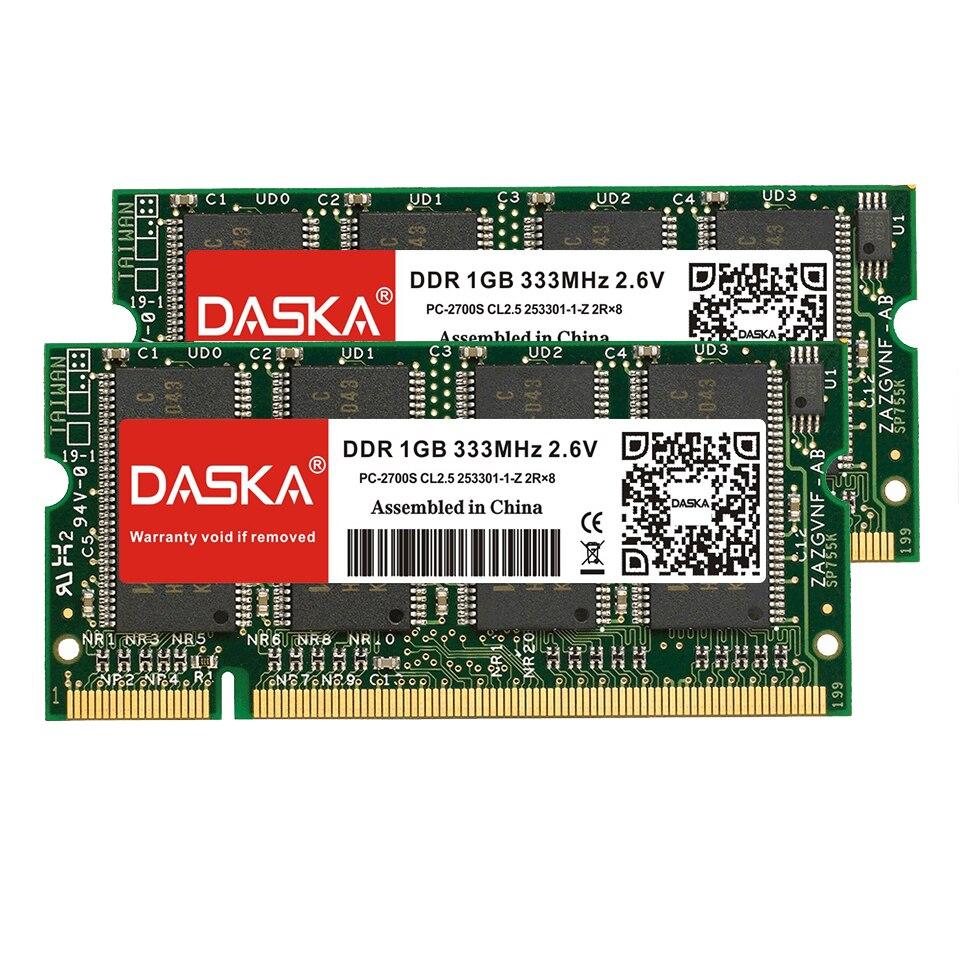 DASKA ноутбук память DDR 1 ГБ 333 МГц PC2700 400 МГц PC3200 200Pin DDR 1 ГБ CL3 CL2.5 2,6 V SO-DIMM ноутбуки ОЗУ пожизненная Гарантия