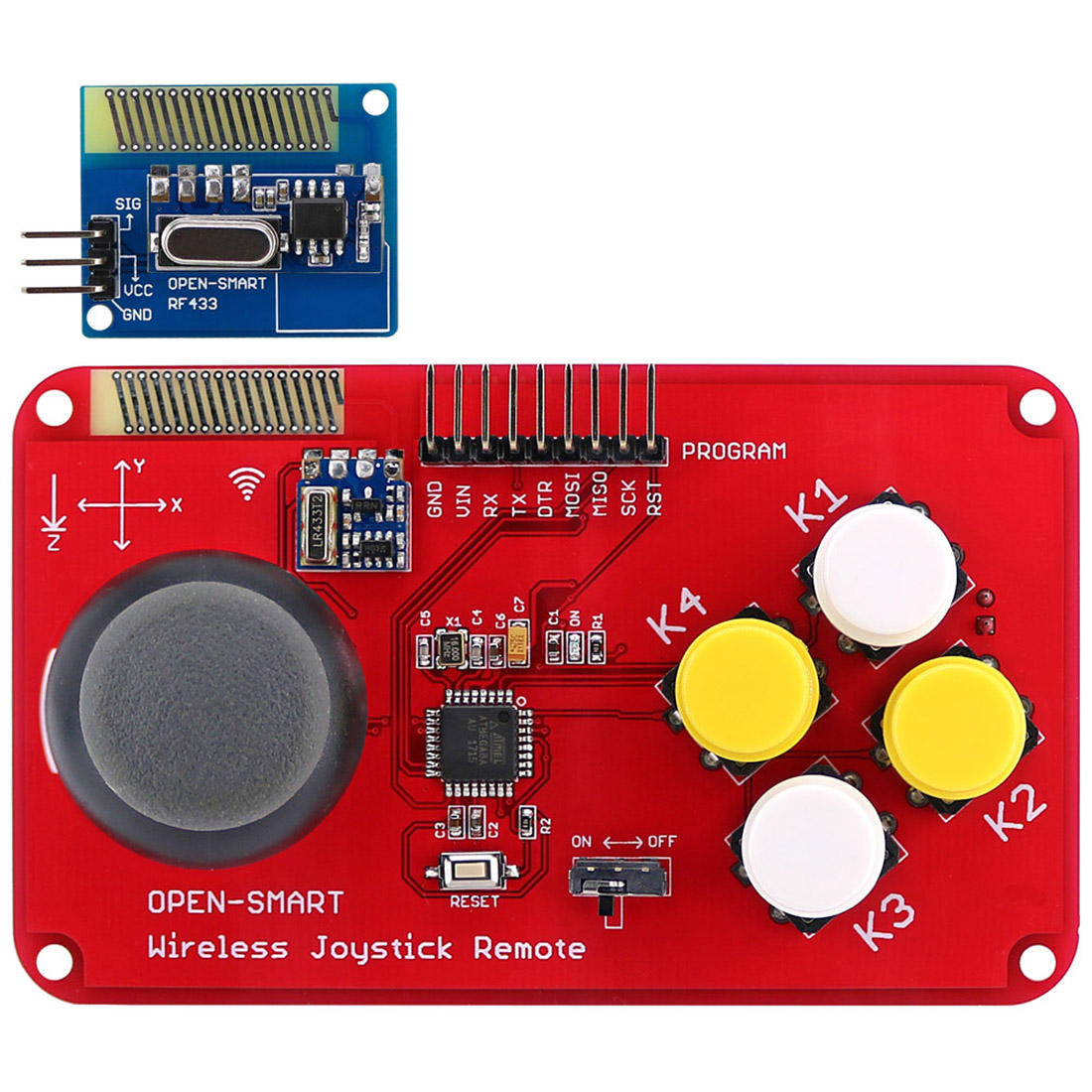 New Hot PS2 Joystick Keypad RF 433MHz Wireless Joystick Game Controller Module Kit For Smart Car/4-Axis Aircraft